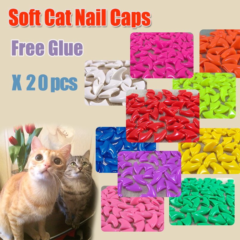 2016 New FASHION colorful Cat Nail Caps soft cat Claw Soft Paws 20 PCS/lot with free Adhesive Glue Size XS S M LGift for pet(China (Mainland))