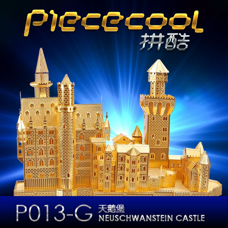 Neuschwanstein Castle 3D Puzzle DIY Metal assembling model Original ICONX/ Piececool P013 2 Sheets Funny Gift(China (Mainland))