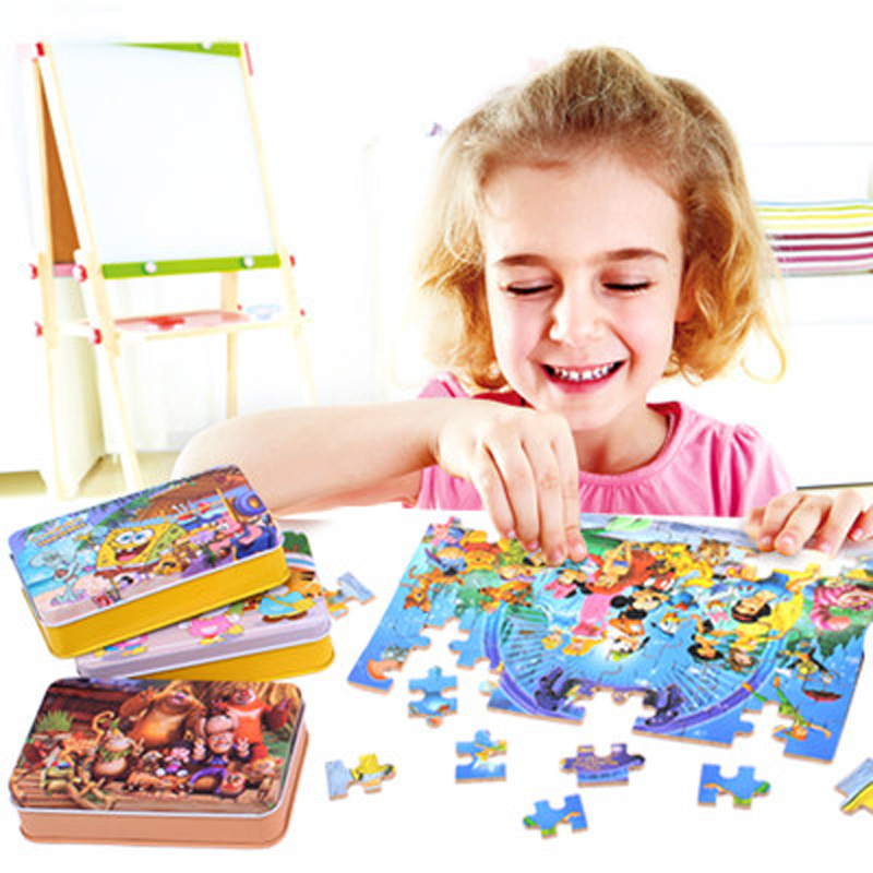 60pcs/set Wooden Puzzle Cartoon Toy 3D Wood Puzzle Iron Box Package Jigsaw Puzzle for Child Educational Montessori Wooden Toys(China (Mainland))