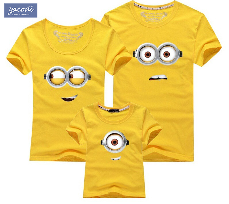 Гаджет  Summer 2015 family tees 100% cotton cartoon minions dad mum baby t shirts cotton kids clothes children clothing minion t shirt None Детские товары