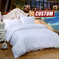 Custom Cotton Satin Hotel Duvet Cover Set King Bedding Sets,Luxury White Solid bedclothes,quilt cover pillowcase #QY15