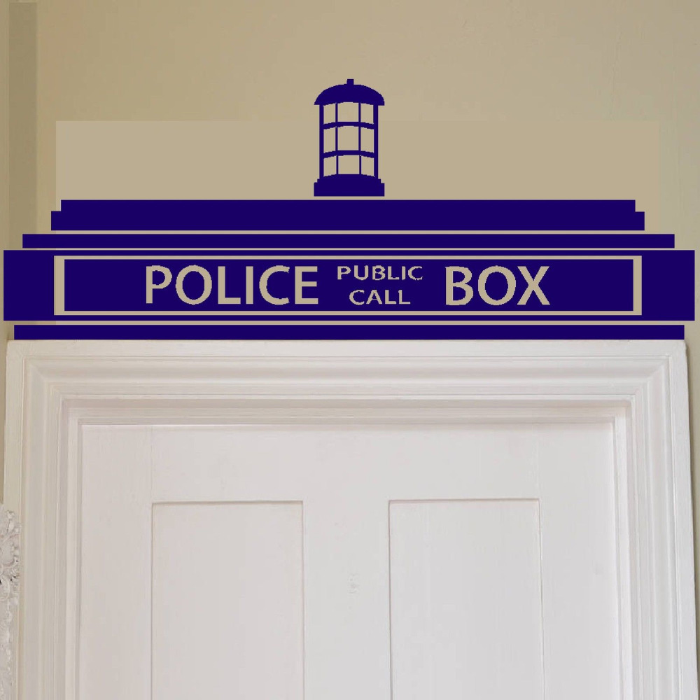 free shipping Creative Doctor Who Tardis Police Box Wall Sticker / Decor Design Kids Transfer Vinyl ,H0017(China (Mainland))