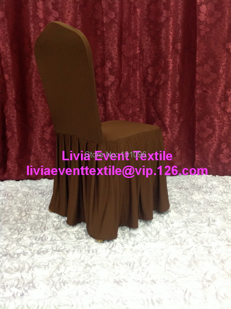 100pcs Extra Thicker #31 Chocolate Brown Large Skirting Lycra Chair Cover,Lycra Chair Cover for Wedding Events&Party Decoration(China (Mainland))