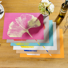 6PCS Knitted PVC Ginkgo Leaf Print Table Placemat Bar Coffe Store Home Table Mats Home Decoration(China (Mainland))