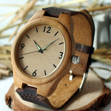 2015 New Arrival Men Wooden Wristwatch Hand-craft Watch Luminous Hands with Genuine Leather Strap RT004