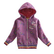 Girl coats kids clothing girls hoodies winter cotton outwear plaid embroidery flowers zipper windproof coat for girls F3292(China (Mainland))