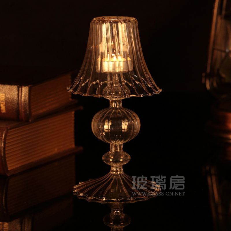 6pcs x reading room clear glass l tealight candle