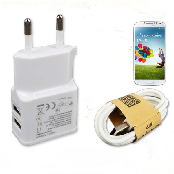 free shipping Dual USB 5V 2A Wall Charger Adapter EU Plug Travel Power 2 Port + USB Data Sync Cable for Samsung S4 for HTC(China (Mainland))