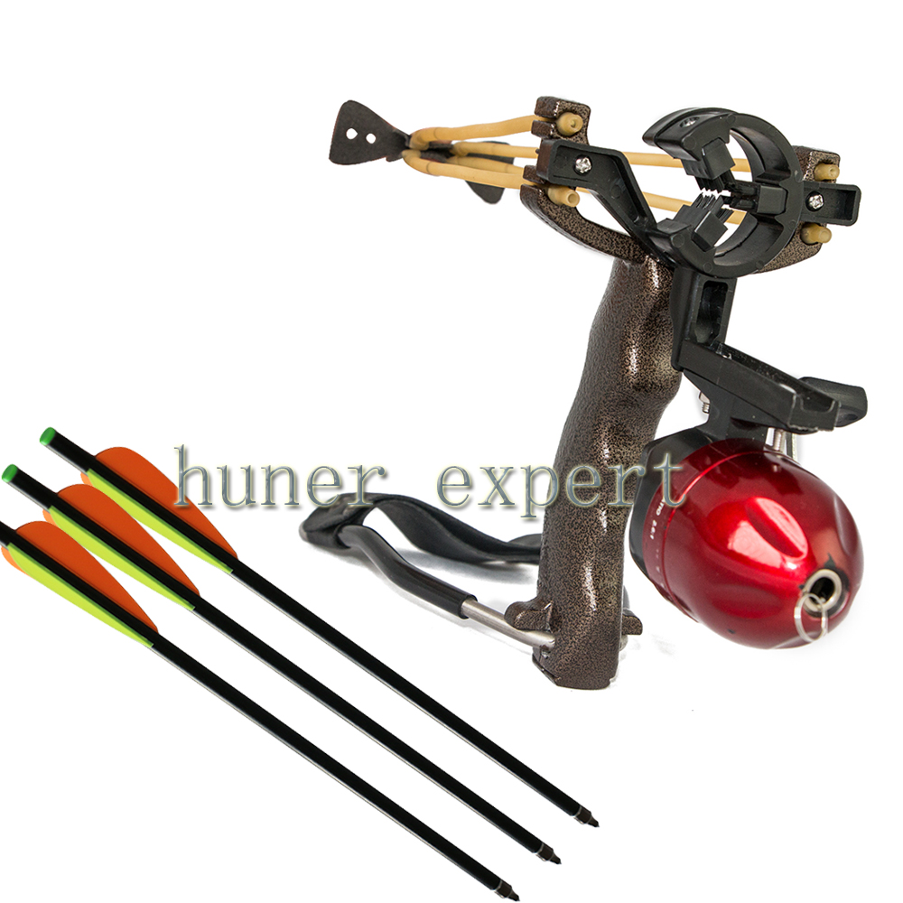 One durable high powerful bow fishing slingshot catapult with arrow rest sling shot clamp 3pcs fiberglass