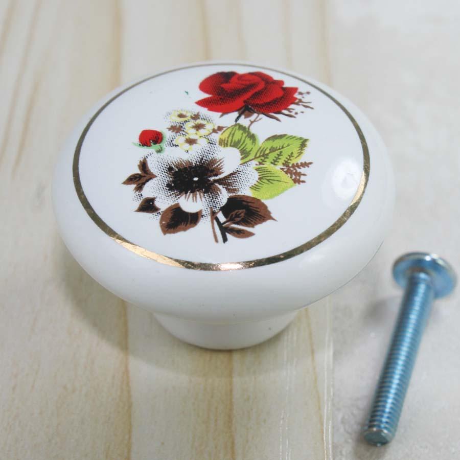 38mm Fashion pastorale ceramic furniture knobs white red gold porcelain drawer cabinet dresser cupboard knobs pulls handles<br><br>Aliexpress
