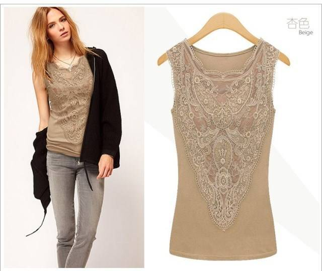 European and American fashion tops crochet lace shirt vest Summer style women's clothing Free shipping(China (Mainland))