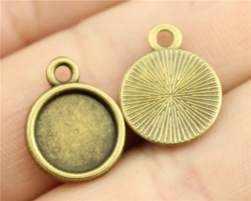 15pcs 10mm inner size (One Sided, Round Shape) Vintage Antique Bronze Plated Metal Zinc Alloy Cameo Cabochon Base Setting(China (Mainland))