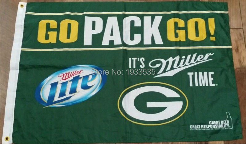 Green Bay Packers Flag Miller Beer Man Cave Bar Tailgate NFL Rodgers Rare 3x5(China (Mainland))