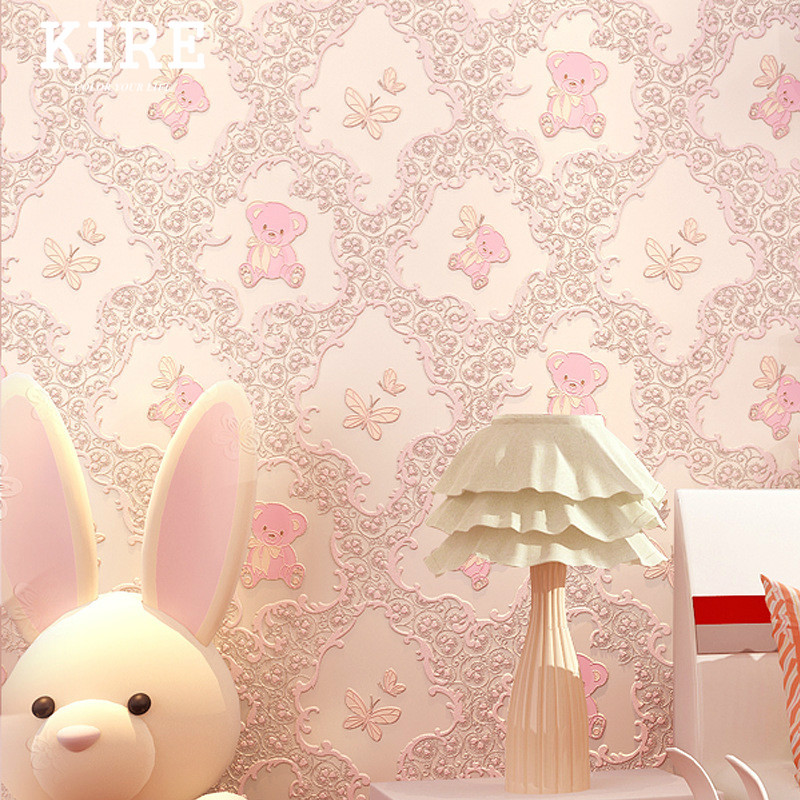 Cute Teddy Bear Peel and Stick Wallpaper Self-adhesive Wall Paper for Kids Room Bedding Room Deco 1m(China (Mainland))