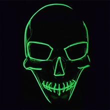 Halloween Masks LED clothing Neon Big Terror EL Masks Cold light helmet Fire Festival Party Glowing dance Carnival accessories(China (Mainland))