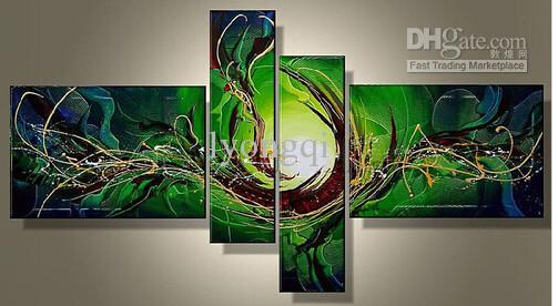 Hand-painted Hi-Q modern wall art home decorative abstract oil painting on canvas Green light dance scrawl line 4pcs(China (Mainland))
