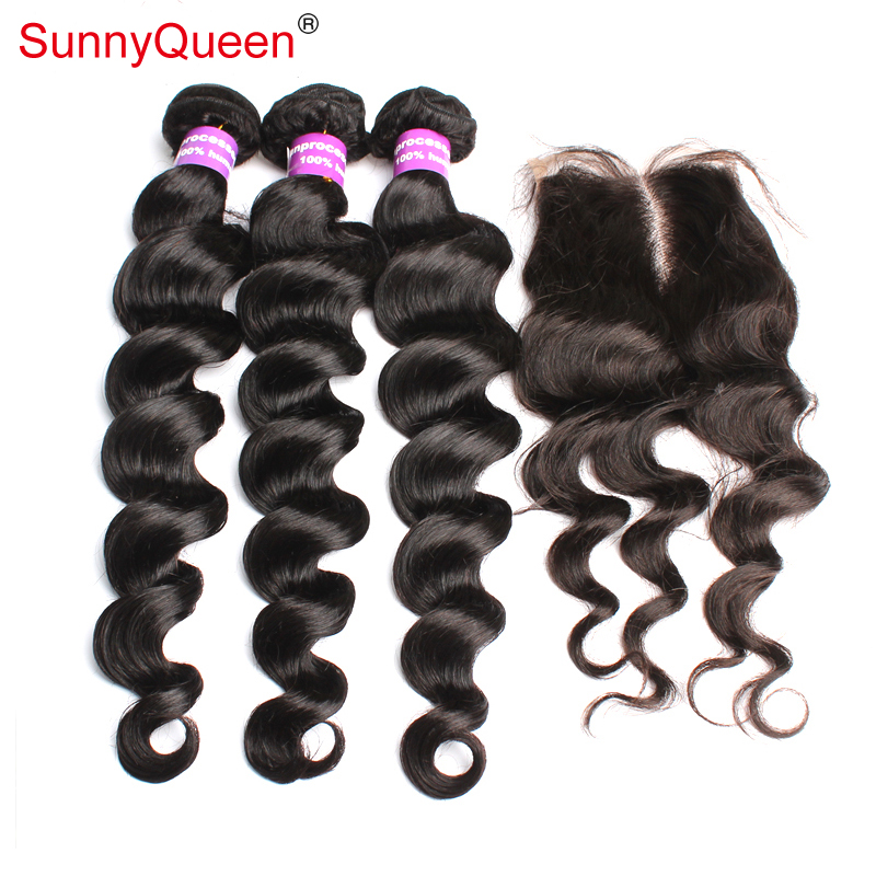 Brazilian Virgin Hair 4pcs Lot Free Part Lace Closure With 3pcs Hair Bundles Unprocessed Human Virgin Hair Extension Loose Wave<br><br>Aliexpress