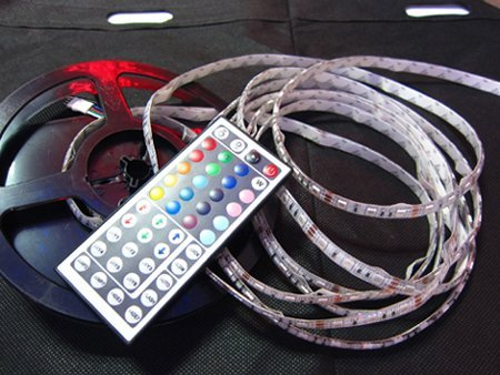 [Seven Neon]free shipping 2sets/lot  waterproof 300leds 5050 5m SMD LED RGB Strip with 44keys IR Remote controller