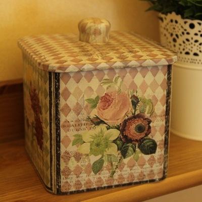 Free shipping 2pcs/lot Good quality retro design biscuit receive box coffee storage box square sealing coffee Storage Jars(China (Mainland))