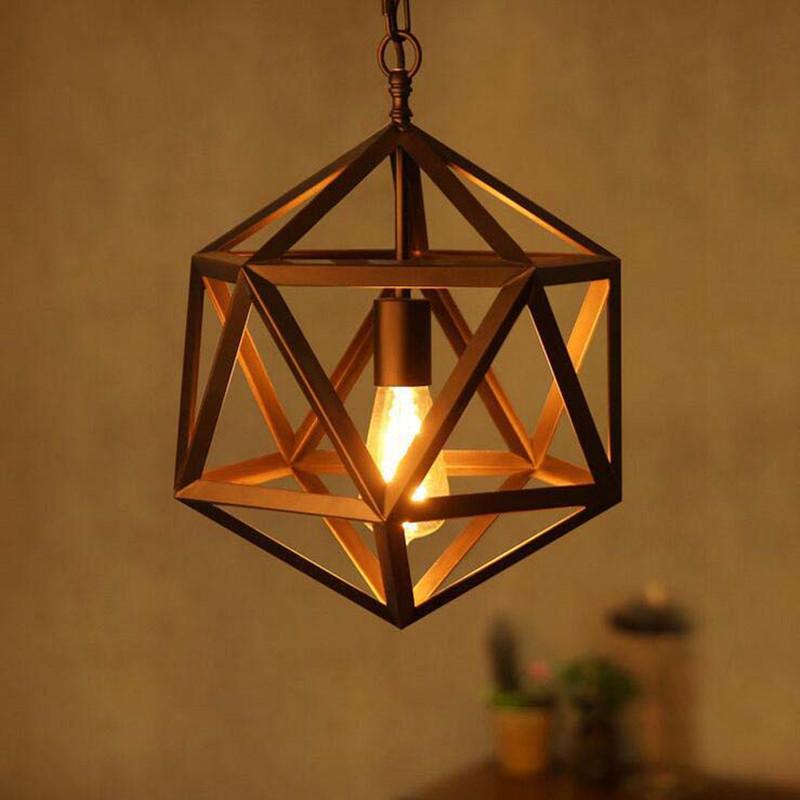Loft RH north European type pendant light American village style restaurant bar retro bronze hexahedron pendant lamp(China (Mainland))