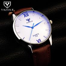 Buy YAZOLE Luxury Blue Glass Watch Men Watch Fashion Wrist watches Men's Watch Leahter Clock Men saat relogio masculino reloj hombre for $4.49 in AliExpress store