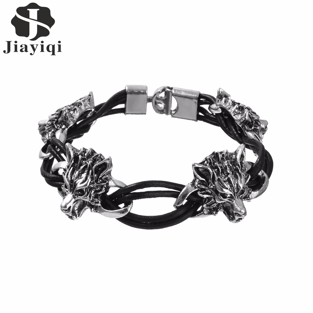 Jiayiqi 2017 New Brand Punk Men's Jewelry Wolf Leather Stainless Steel  Bracelets For Men Best Friends