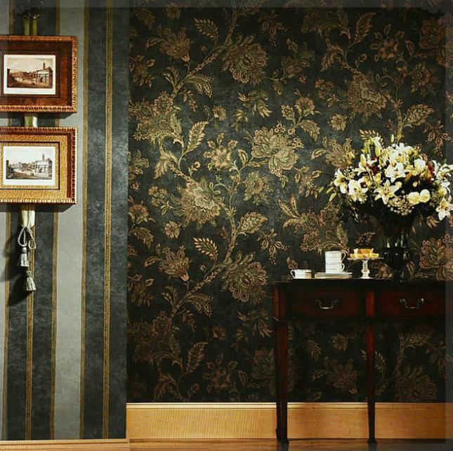Rustic black and gold wallpaper vintage wall paper for Black and gold living room wallpaper