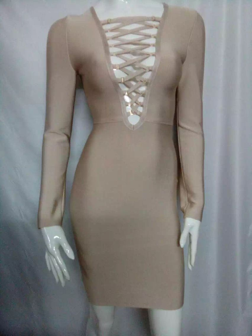 2015-women-high-quality-christimas-promotions-nude-v-neck-black-long-sleeve-bandage-dress-cocktail-dress