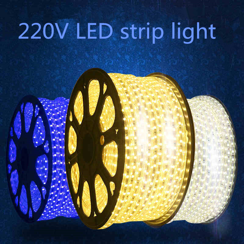220V High voltage 5050 led flexible strip light+Power plug ,diode tape,waterproof IP65 100M/roll(China (Mainland))