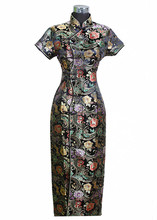 Black Traditional Chinese Dress Mujer Vestido New Women's Satin Long Cheongsam Qipao Clothings Flower S M L XL XXL XXXL J0024(China (Mainland))