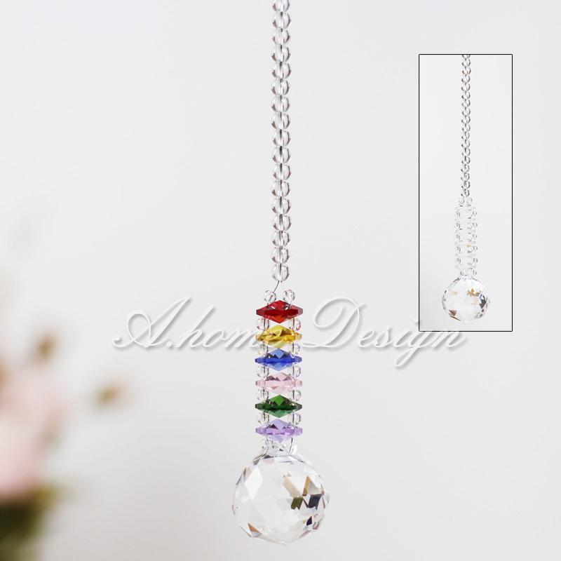 Free Shipping Colorful Crystal Ball Guardian Hanging Window Suncatcher Ornament Decoration(China (Mainland))