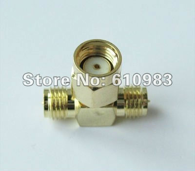 Free shipping (5 pcs\lot ) RP-SMA male to 2 RP-SMA female connector adapter 3 way goldplated<br><br>Aliexpress