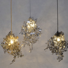 Modern Unique Chandelier Simple Leaves DIY Chandelier Gold/Chrome 40W Shadeless Light Dining Room Loft Bedroom Lighting Decor(China (Mainland))
