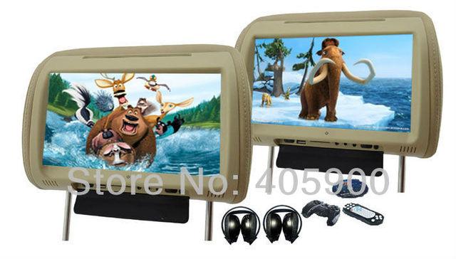 NEW 9 inch HD Car headrest DVD player with 32bit Games+SD+USB+IR/FM transmitter, IR headphones