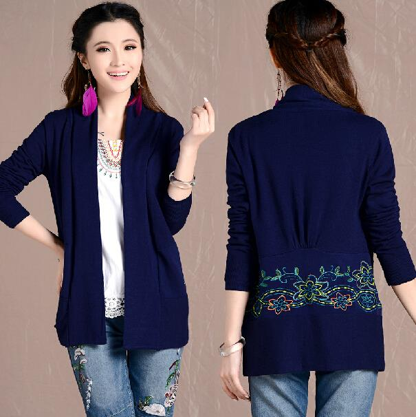 New Autumn Long-sleeved Navy Blue Long-sleeved Casual Women Rear Embroidered Shawl Knit Cardigan TX013(China (Mainland))