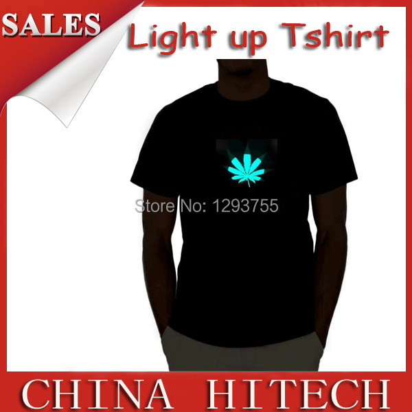 EL T-Shirt Sound Activated Maple leaves ELPanel Flashing T Shirt Light Up Down Music Party LED TShirt(China (Mainland))