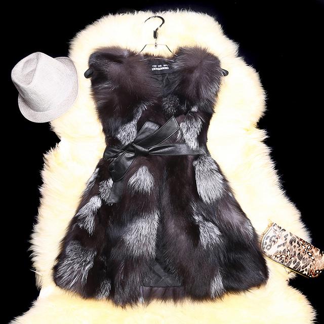 Новых зимних женщин из натуральной меховой жилет с поясом природный чернобурки меховой ...