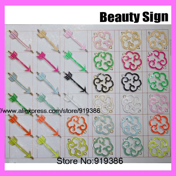 100pcs Bracelet Connector Beads Findings Neon Colorful Painted Cupid arrow love charm,religious symbolism Charms(China (Mainland))