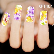 Water Transfer Nail Art Stickers Decal Yellow Purple Sun Flowers Oil Paint Design DIY French Manicure Foils Stamping Tools