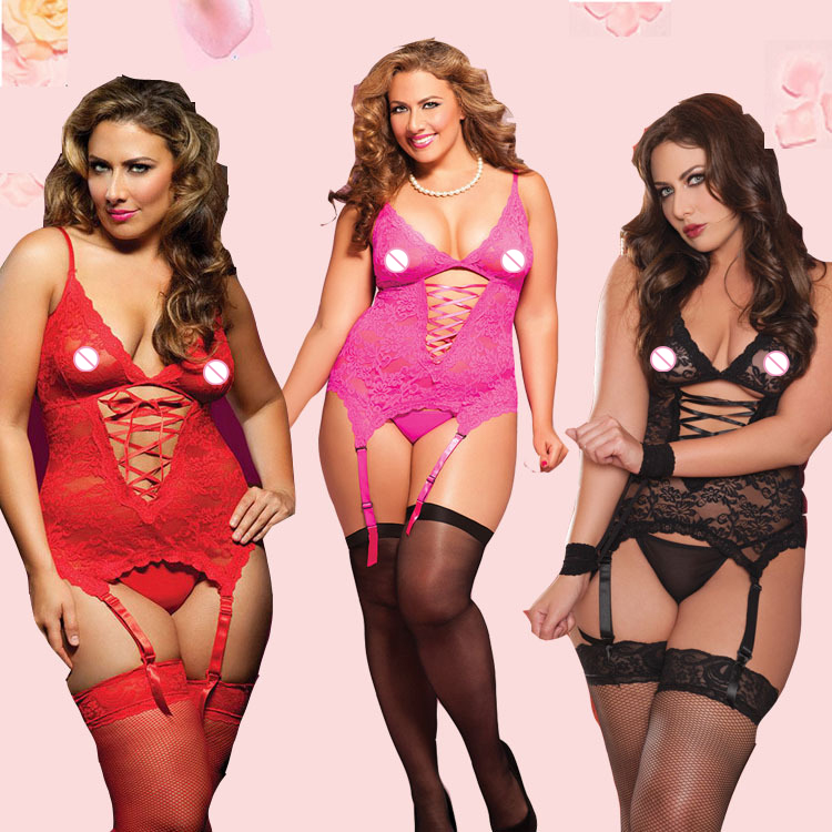 sexy lingerie hot soft lace Sling deep V-neck chemise SM cosplay sexy plus size lingerie 4 color lenceria sexy sexy costumes(China (Mainland))