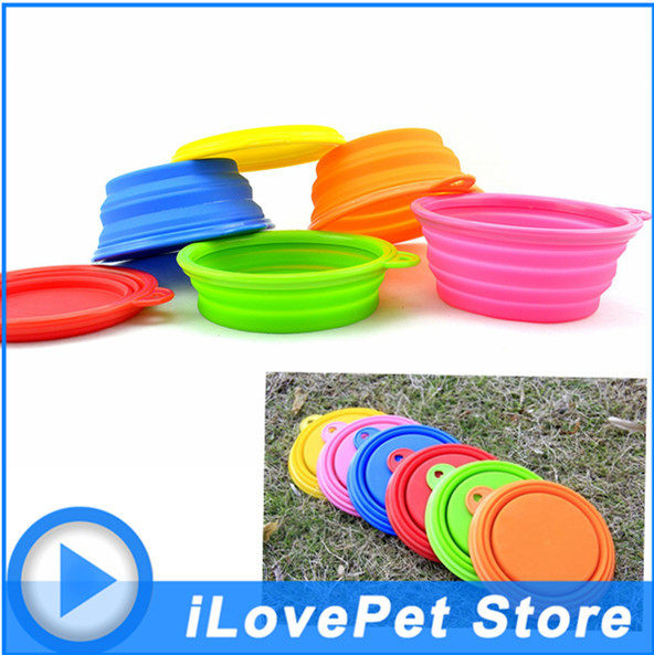 Best quality Pet Dog Cat Bowl Plates Feeder container Feeding Water Feeder 6 colors Fashion Silicone Travel Bowl Dish GL004(China (Mainland))