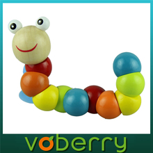 Novel designs 2015 New Variety Twist-colored Insects Wooden Toys Educational Toys kid caterpillar toys(China (Mainland))