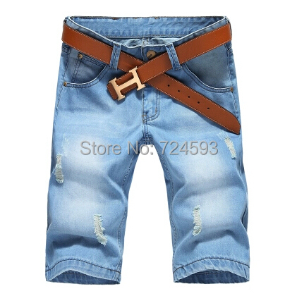 2015 Beand New Light color summer denim hole straight loose Mens Casual Cotton Jeans Shorts Plus Size 28-42 - Fashion -2015 store