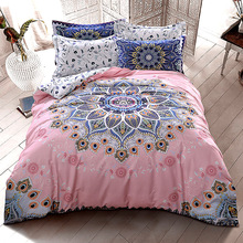 Bohemia/boho bedding cotton set flower duvet cover set winter comforter cover home bed sheet 4pcs fashion bed set pink bed linen(China (Mainland))