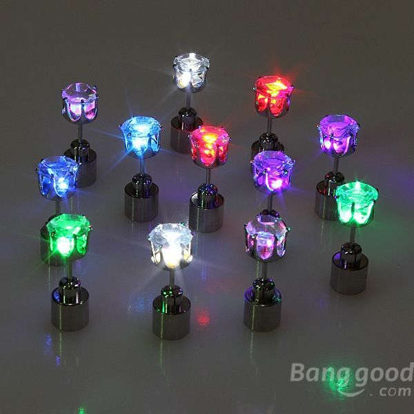 HotHeart  1pc Light Up Led  Earring Ear Stud Dance Party Accessories(China (Mainland))