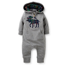 Baby rompers new arrival brand hooded infant clothing cotton fabric toddler boy jumpsuit coveralls baby boy clothes