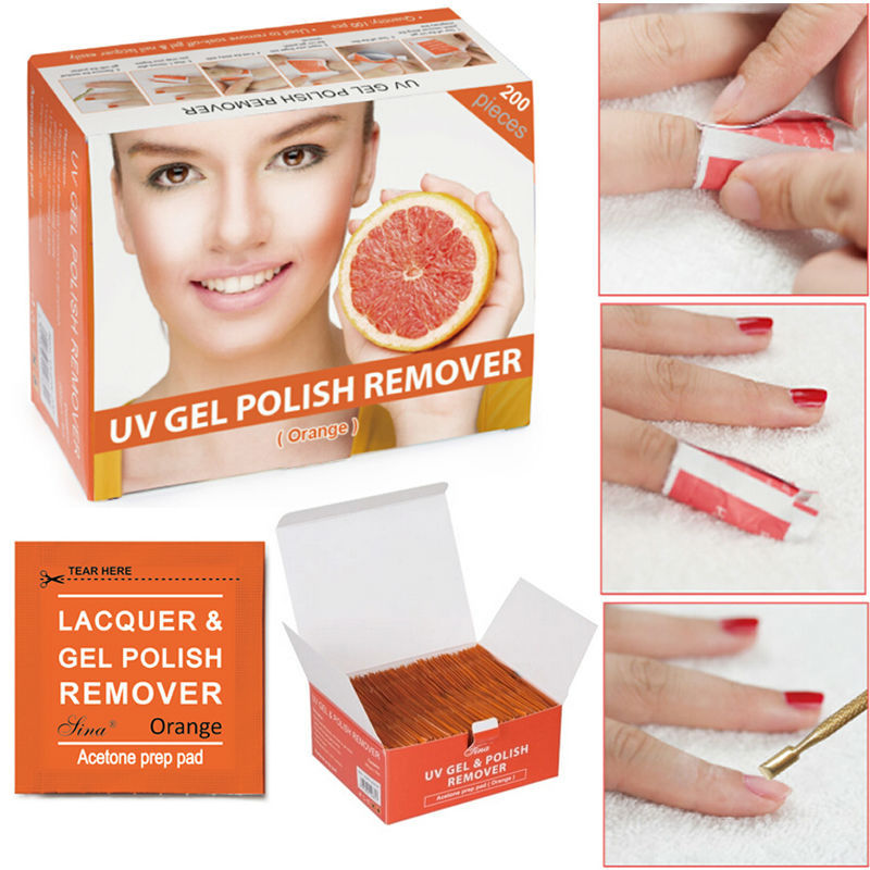 200pcs/Box 2015 New Arrival Professional UV GEL Polish Remover Quick Nail Polish Remover Nail Wraps Tool Cleaner Orange F0298(China (Mainland))