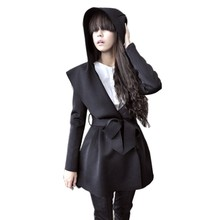 Stylish New Women Korea Hooded Coat Trench Outerwear Hoodie Dress Style Tops 2 colors Hot Sell Hooded Coat Trench