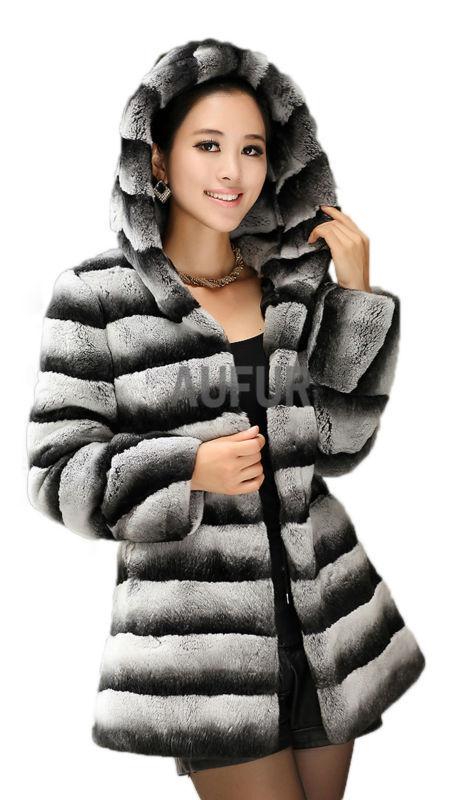Luxurious Womens Genuine Rex Rabbit Fur Overcoat Stripe Imitation Chinchilla Rex Rabbit Fur Coat with Hoody Winter Parka LX00429Одежда и ак�е��уары<br><br><br>Aliexpress