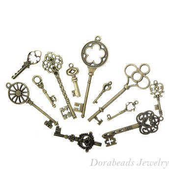 Free shipping Mixed Antique Bronze Key Charms Pendants 33x13mm-69x20mm, 24Pcs (B13922)
